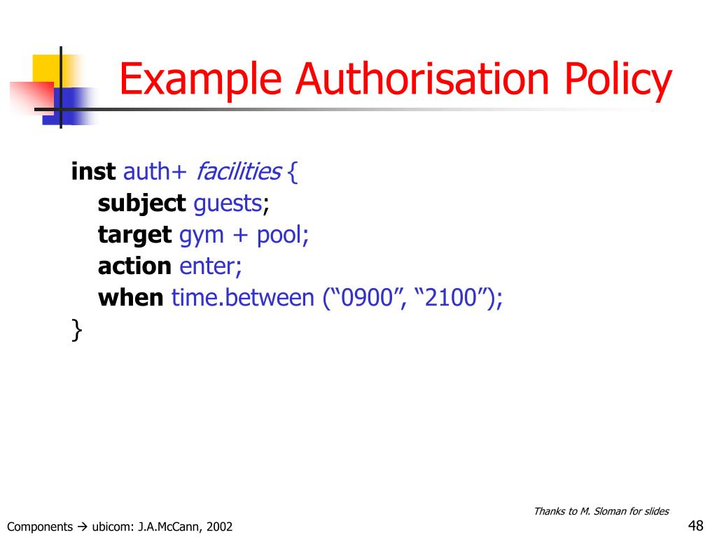Example Authorisation Policy