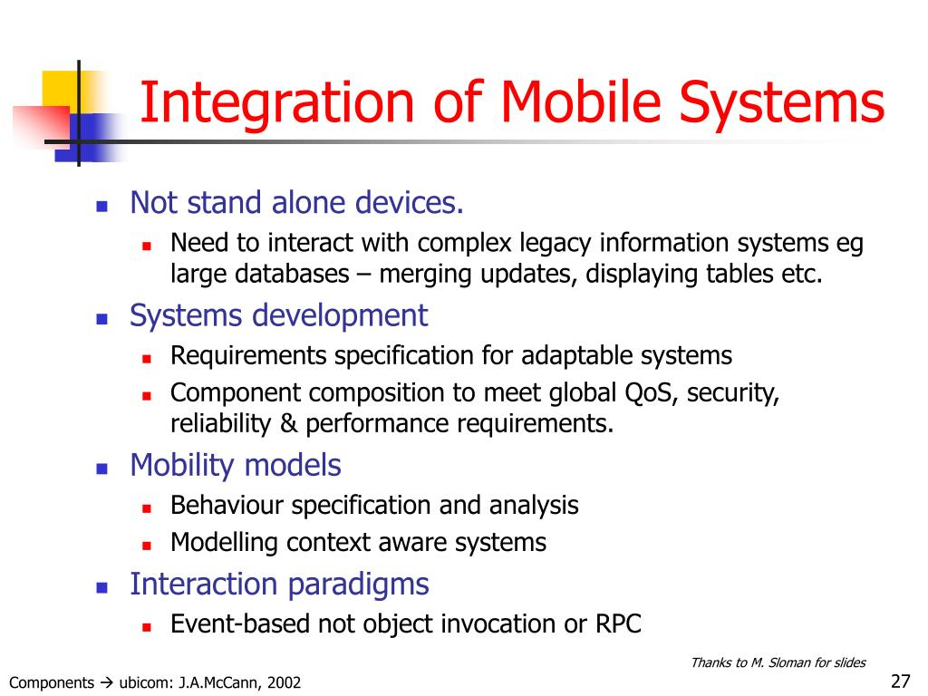 Integration of Mobile Systems
