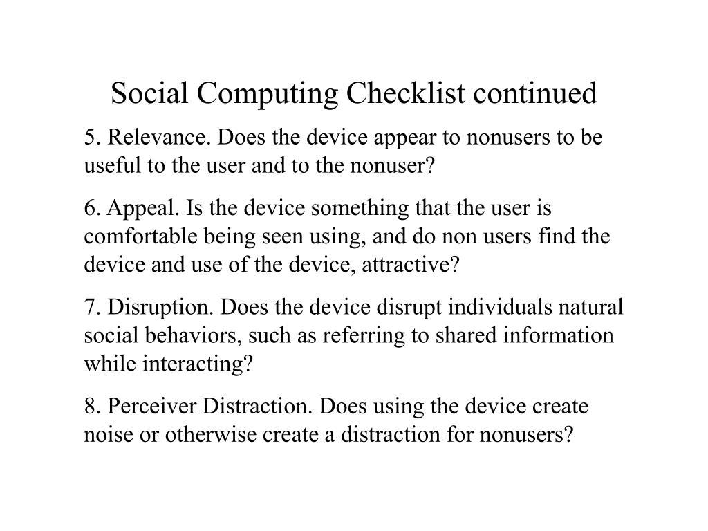 Social Computing Checklist continued