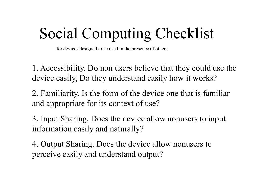 Social Computing Checklist