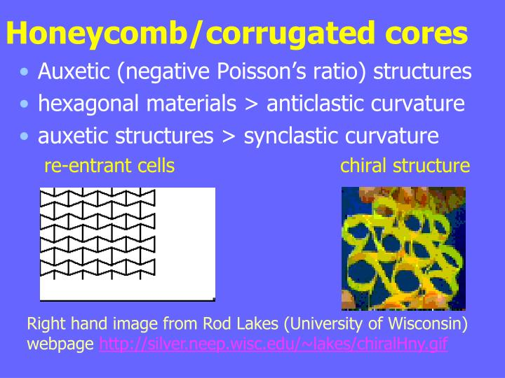 Honeycomb/corrugated cores