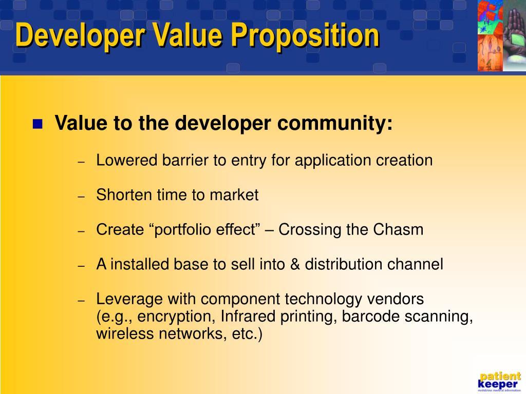Developer Value Proposition