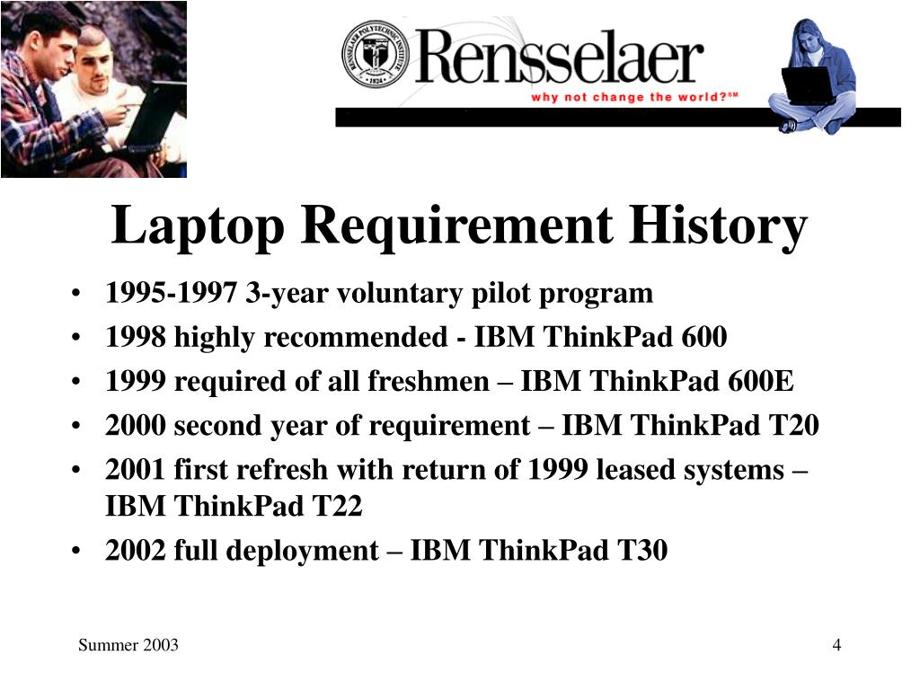 Laptop Requirement History
