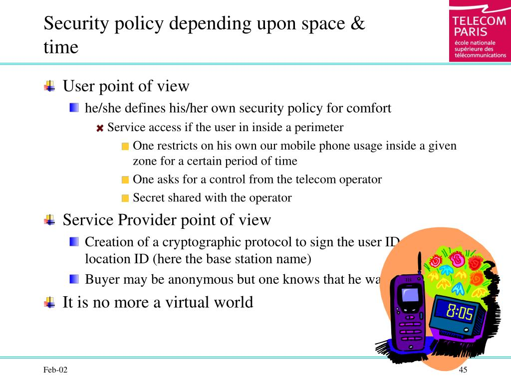 Security policy depending upon space & time