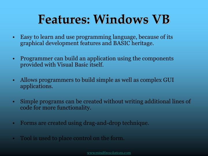 Features windows vb