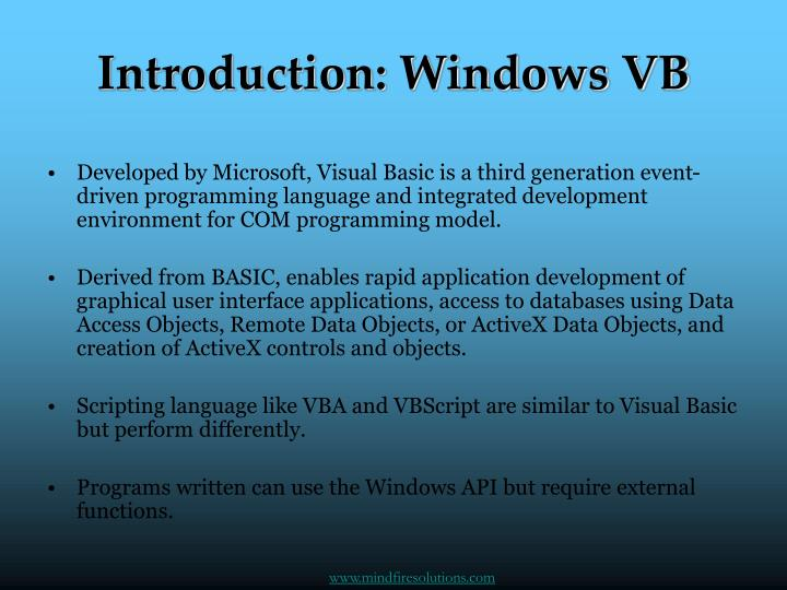 Introduction windows vb