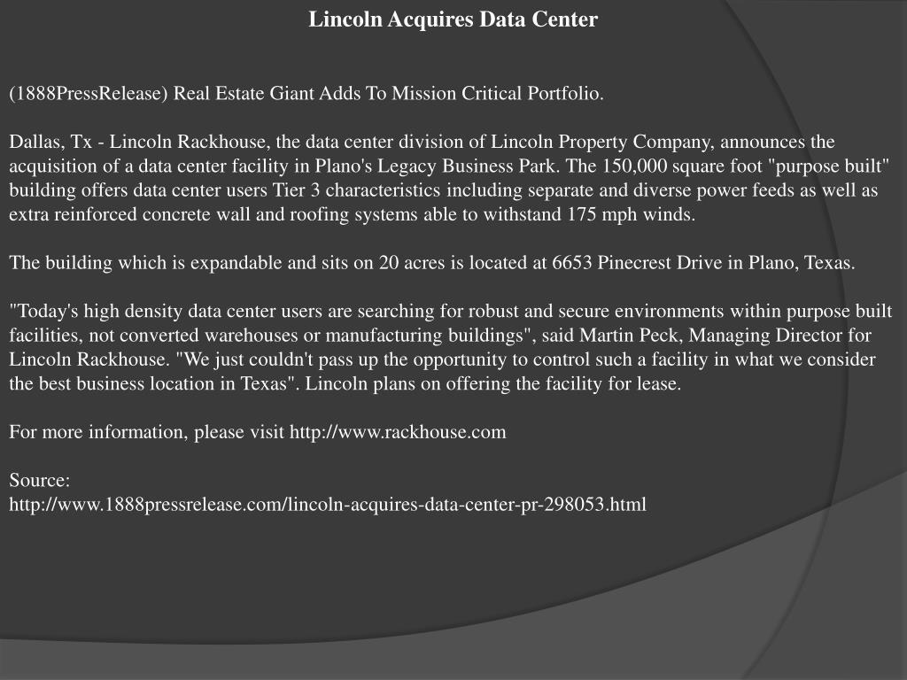 Lincoln Acquires Data Center