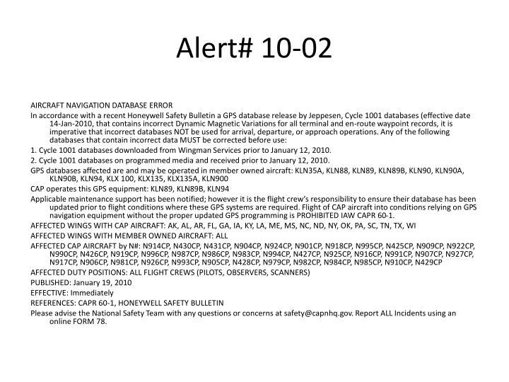 Alert# 10-02