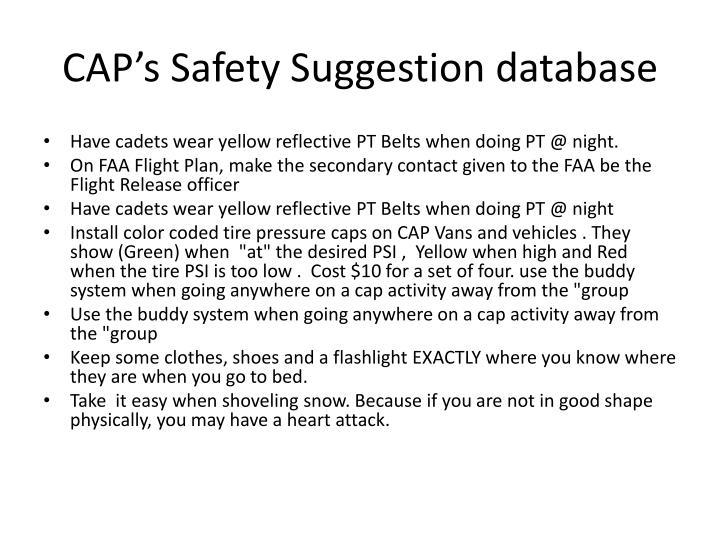 CAP's Safety Suggestion database
