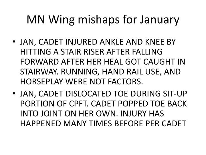 MN Wing mishaps for January