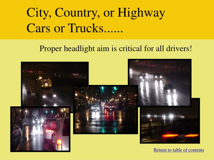 City, Country, or Highway