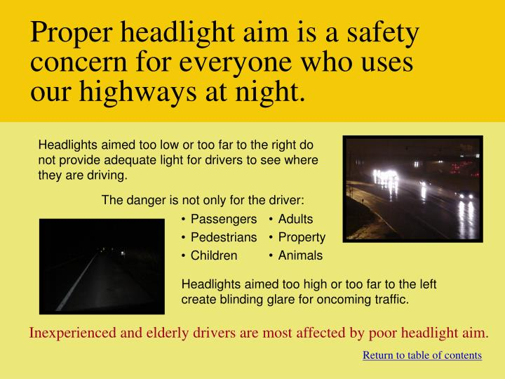 Proper headlight aim is a safety concern for everyone who uses our highways at night.