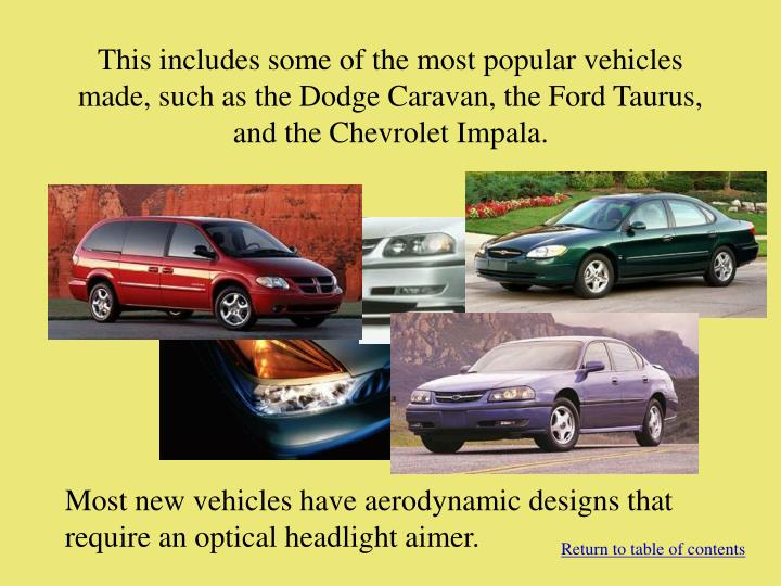 This includes some of the most popular vehicles made, such as the Dodge Caravan, the Ford Taurus, and the Chevrolet Impala.