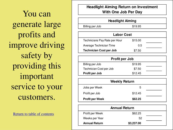 You can generate large profits and improve driving safety by providing this important service to your customers.