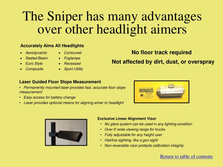 The Sniper has many advantages over other headlight aimers