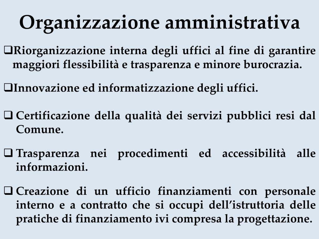 Organizzazione amministrativa