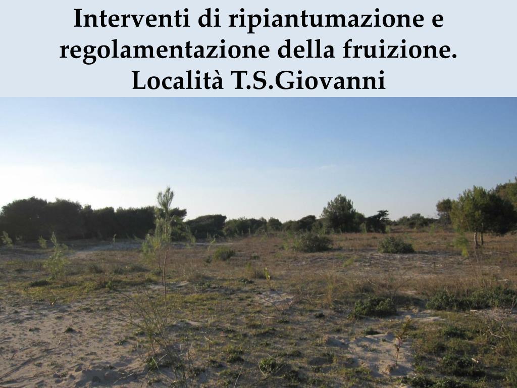 Interventi di ripiantumazione e regolamentazione della fruizione. Località T.S.Giovanni