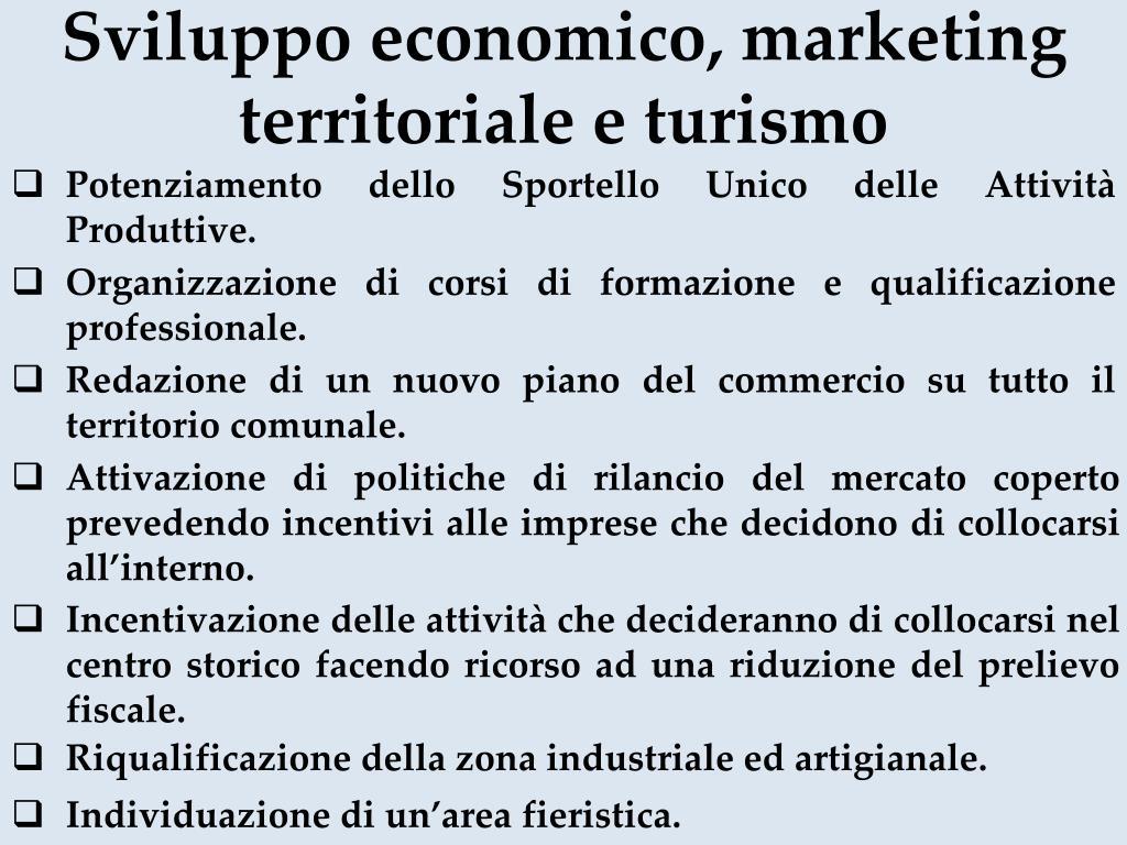 Sviluppo economico, marketing territoriale e turismo
