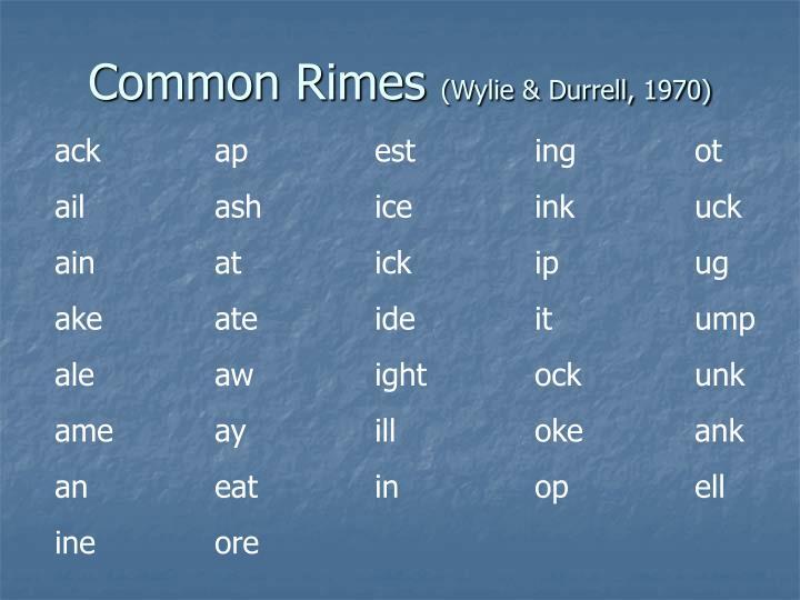 Common Rimes