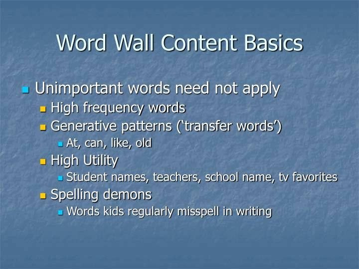 Word Wall Content Basics