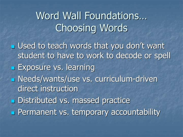 Word Wall Foundations…