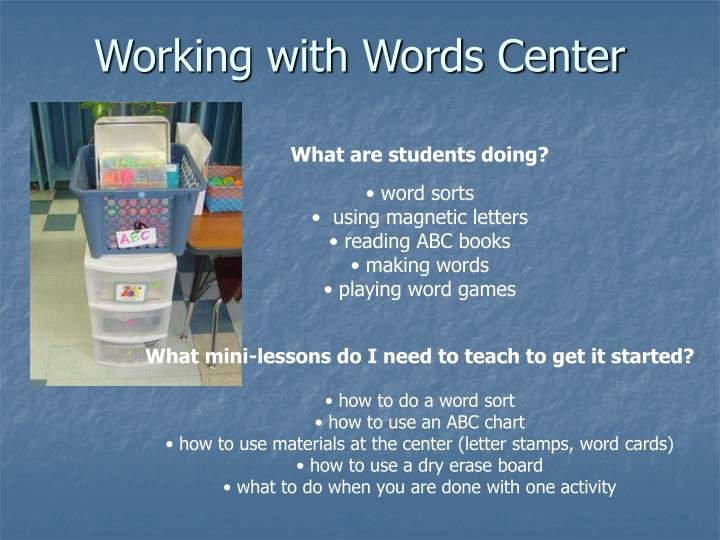 Working with Words Center