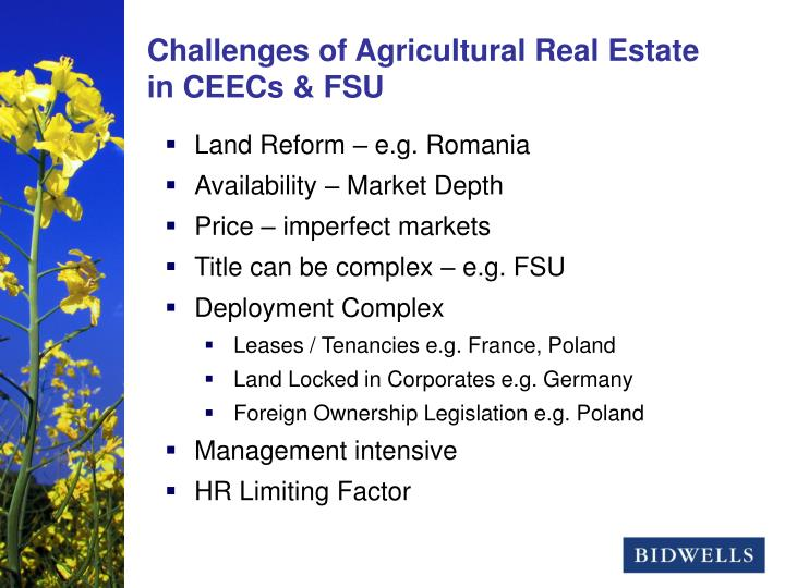Challenges of Agricultural Real Estate in CEECs & FSU