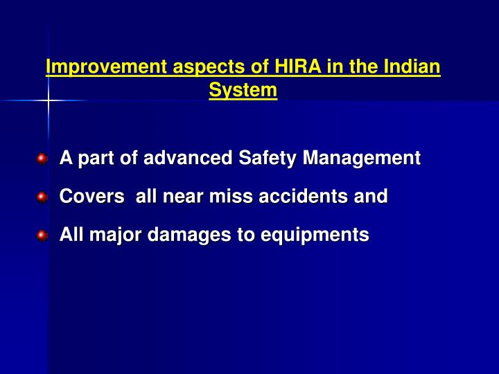 Improvement aspects of HIRA in the Indian System