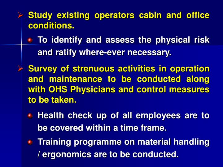 Study existing operators cabin and office conditions.