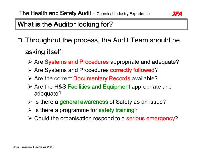 What is the Auditor looking for?