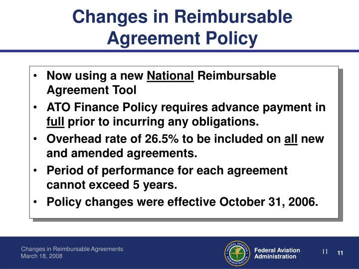 Changes in Reimbursable
