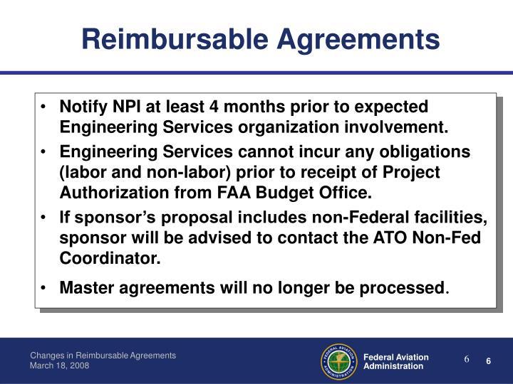 Reimbursable Agreements