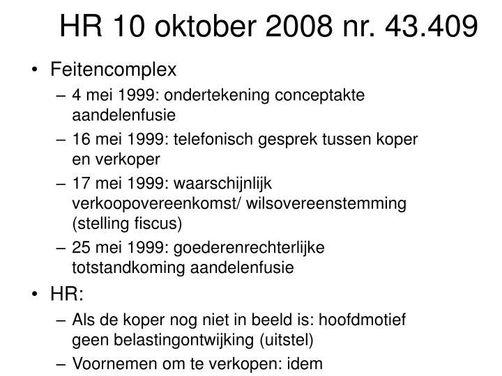 HR 10 oktober 2008 nr. 43.409