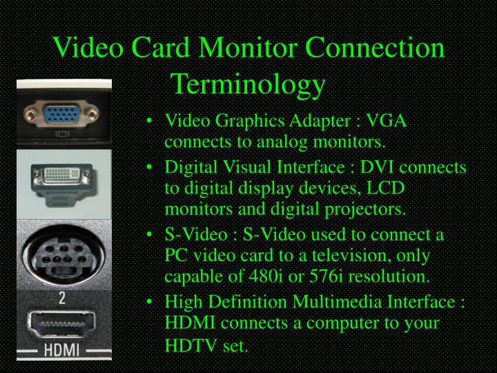 Video Card Monitor Connection Terminology