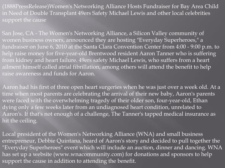 (1888PressRelease)Women's Networking Alliance Hosts Fundraiser for Bay Area Child in Need of Double ...