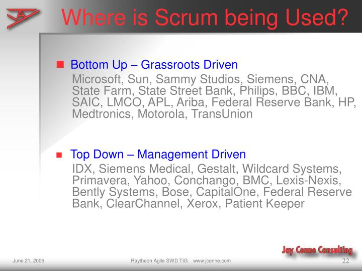 Where is Scrum being Used?