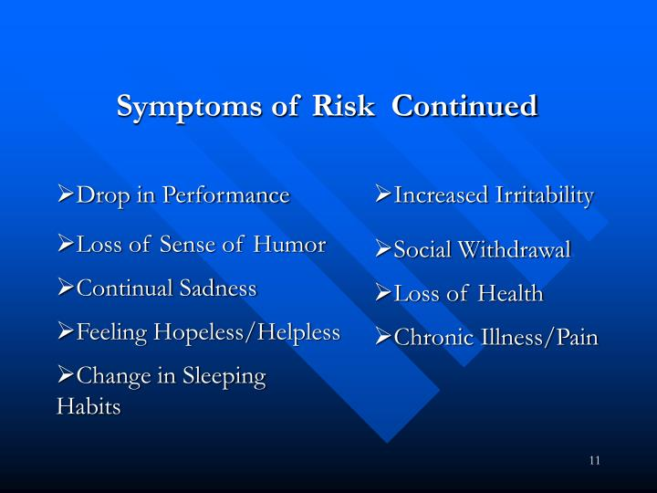 Symptoms of Risk  Continued