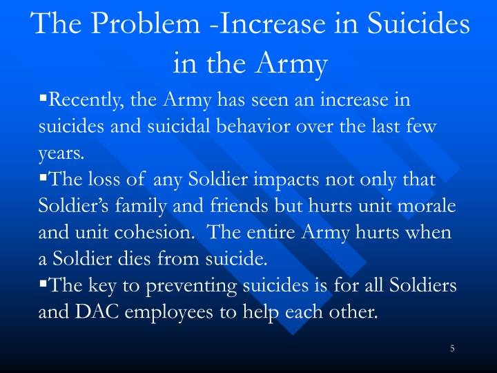 The Problem -Increase in Suicides in the Army