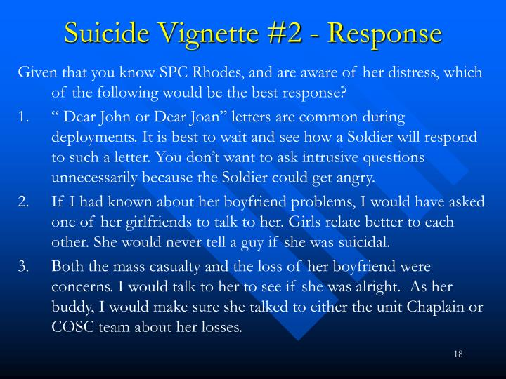 Suicide Vignette #2 - Response