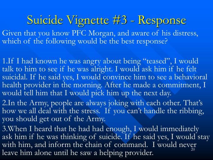 Suicide Vignette #3 - Response