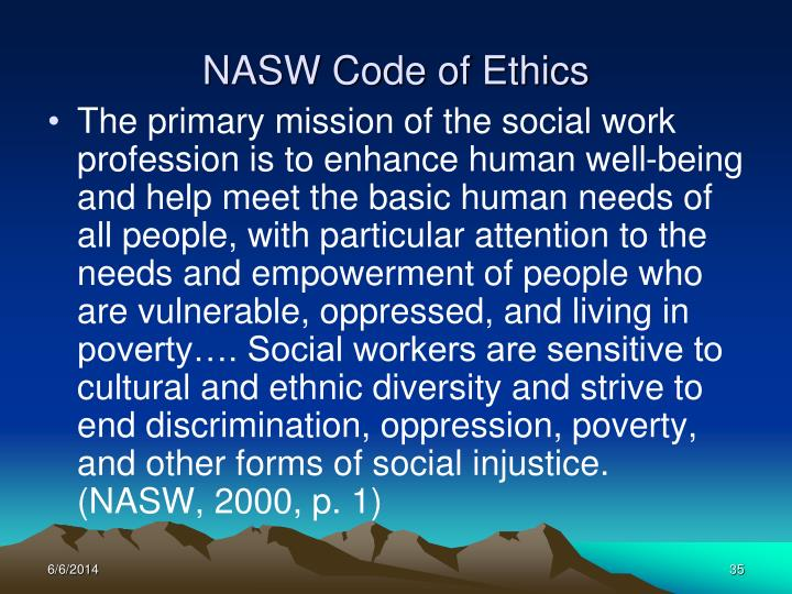 Influential image with nasw code of ethics printable