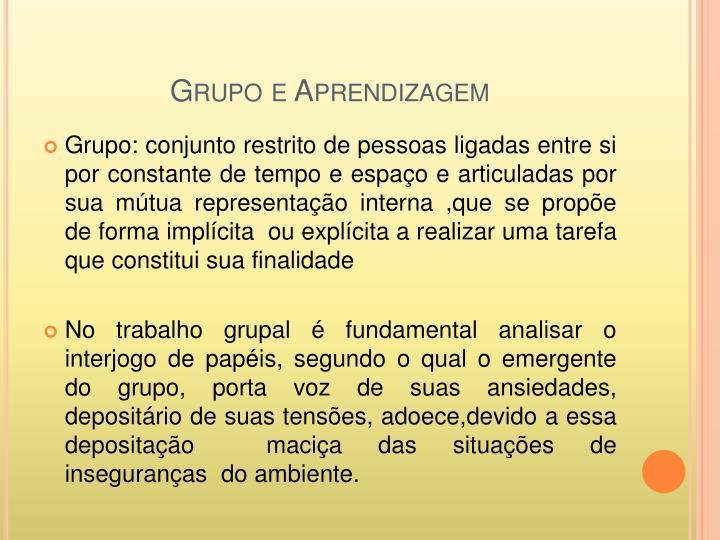 Grupo e Aprendizagem