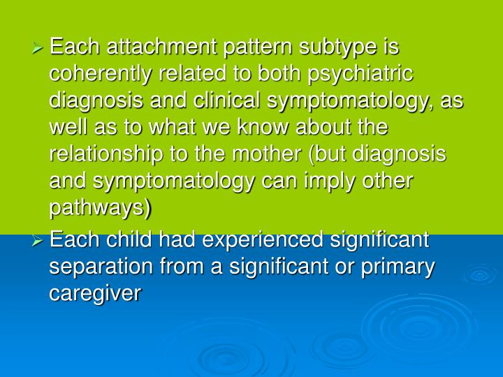 Each attachment pattern subtype is coherently related to both psychiatric diagnosis and clinical symptomatology, as well as to what we know about the relationship to the mother (but diagnosis and symptomatology can imply other pathways)