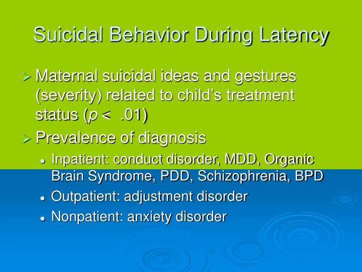 Suicidal Behavior During Latency