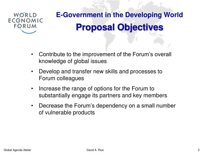 E government in the developing world proposal objectives
