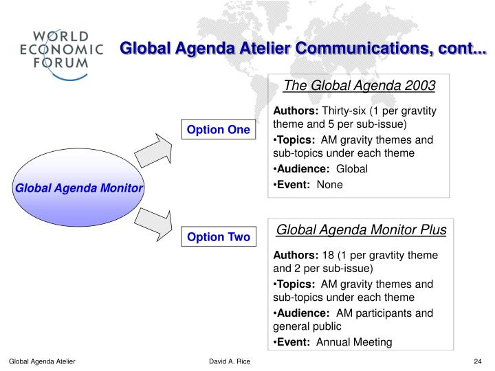 Global Agenda Atelier Communications, cont...