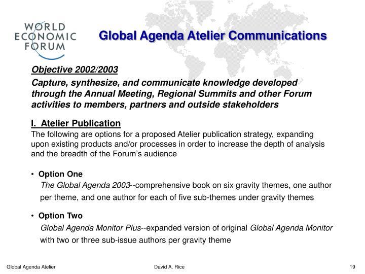Global Agenda Atelier Communications