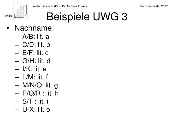 Beispiele UWG 3