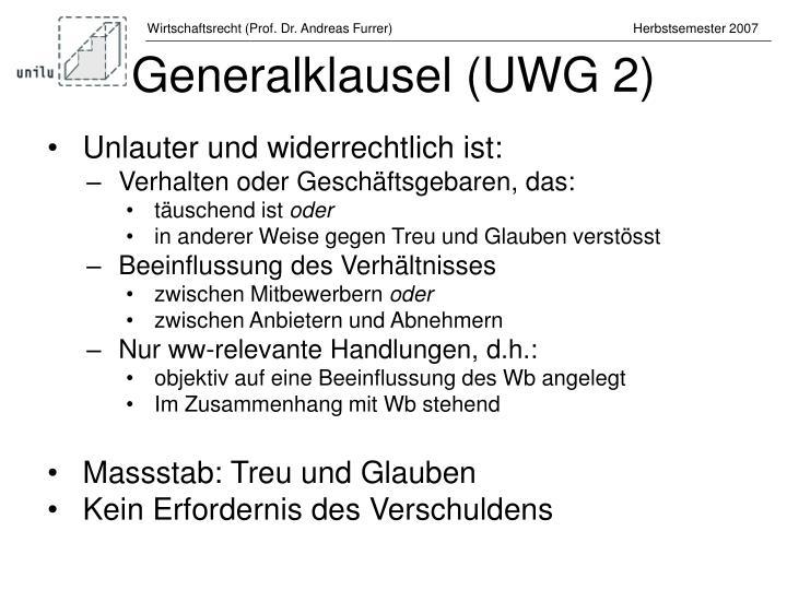 Generalklausel (UWG 2)