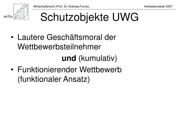Schutzobjekte UWG